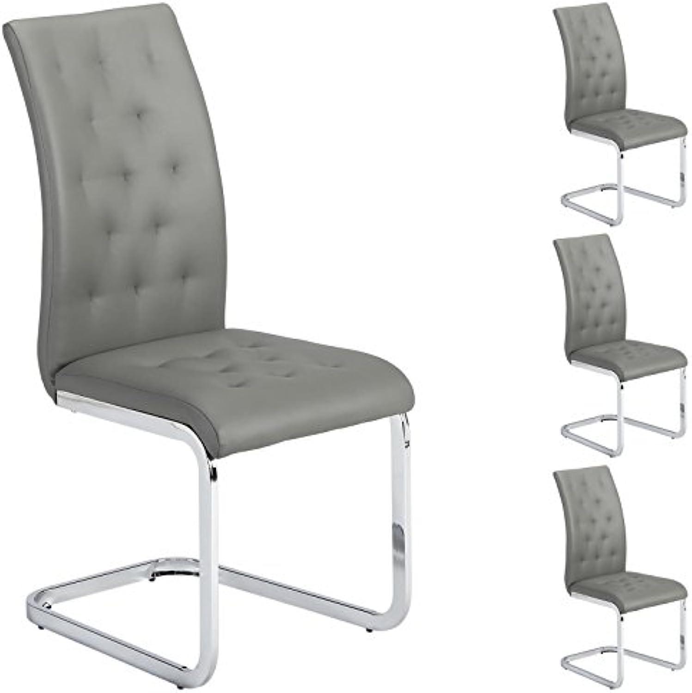 IDIMEX 4er Set Esszimmerstuhl Schwingstuhl Freischwinger Chloe, in grau, Metallgestell hochwertig verchromt