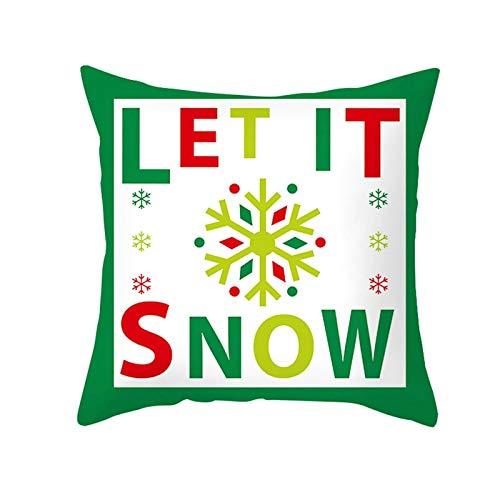 ANAZOZ 1 Funda Cojin 40 x 40,Fundas de Cojin Poliéster Let It Snow Copos de Nieve Rojo Verde Blanco