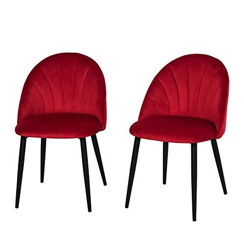 homcom Set 2 Sedie per Sala da Pranzo Imbottite, Poltroncine dal Design Nordico in Metallo e Velluto Rosso, 52x54x79cm