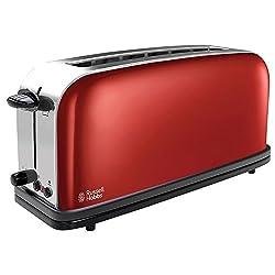 Russell Hobbs Toaster Langschlitz Colours+ rot, extra breite 1 Langschlitzkammer, inkl. Brötchenaufsatz, 6 einstellbare Bräunungsstufen + Auftaufunktion, 1000W, 21391-56