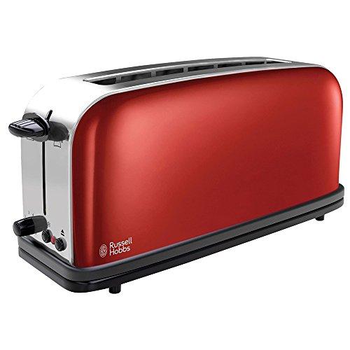 Russell Hobbs Toaster Grille-Pain, Fente Large Spécial Baguette, 6 Niveaux de Brunissage, Décongèle, Réchauffe - Rouge 21391-56 Colours