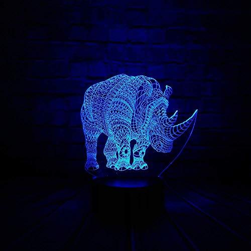 Tier Rhino 3D LED Illusionslampe Nachtlicht Optischer Nachttisch Nachtlichter 16 Farbwechsel Touch Button Dekoration Schreibtischlampen,