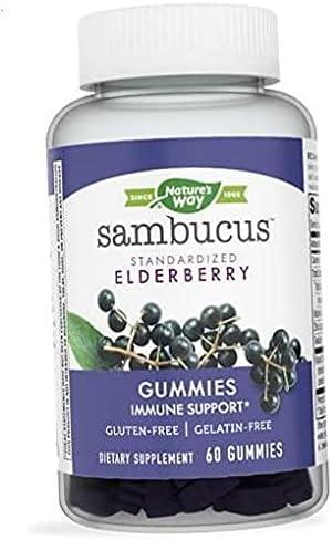 Nature's Way Sambucus Black Elderberry Gummies with Vitamin C and Zinc, 60 Gummies
