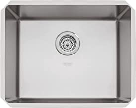 Cuba de Embutir Quadrum 50 U Undermount Tramontina 50 x 40 x 20 cm em Aço Inox Scotch Brite com Válvula