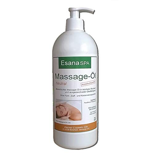 Esana SPA Massageöl neutral (1 Liter) für Wellness & Physiotherapie, med. Qualität DAB/Ph.Eur.