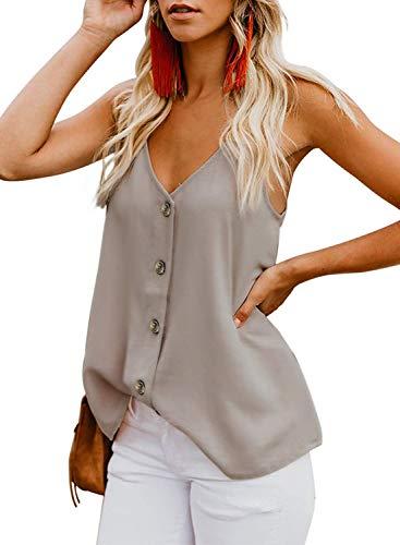 Durio Top Damen Sexy Tank Top Damen Sommertop Spaghetti Top Ärmellose Bluse V-Ausschnitt Shirt Beige 38