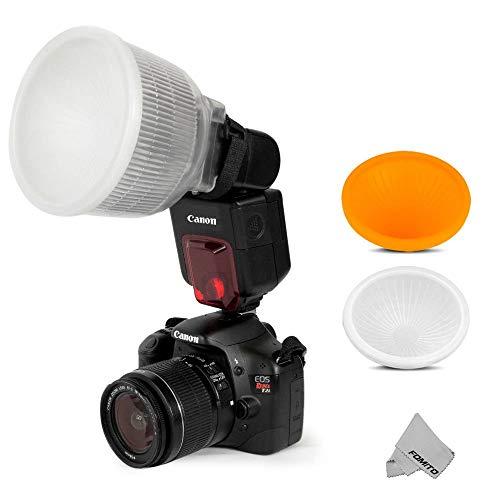FOMITO Universal Cloud Blitzlicht Flash Diffusor + 2 St.Abdeckung Weiß& Orange Set Für Flash Speedlite