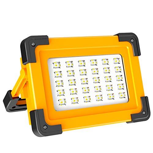 60W LED Arbeitsstrahler T-SUNRISE Akku Solar Campinglampe Arbeitsleuchte Baustrahler Flutlicht wiederaufladbar tragbar wasserdicht Werkstssattlampe 3 Lichtmodi für Angeln Notfall Baustelle Garage