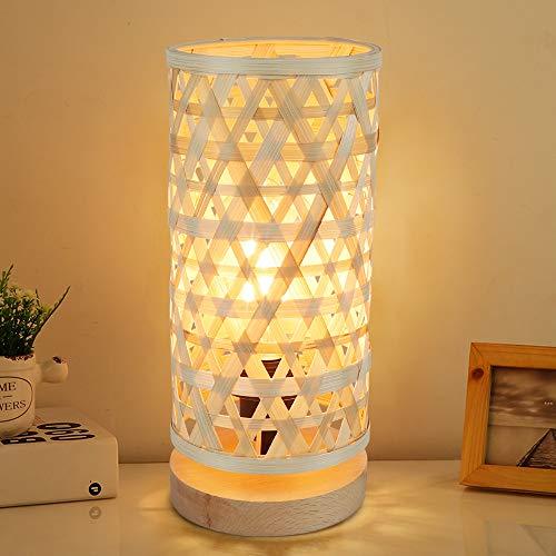 Depuley Moderna lámpara de mesa LED redonda bambú y madera, decorativa Nature con casquillo E14 máx. 40 W, lectura para dormitorio, habitación los niños, bombilla incluida