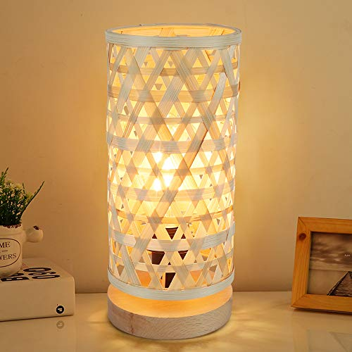 Depuley Moderna lámpara de mesa LED redonda bambú y madera, decorativa Nature con casquillo E14...