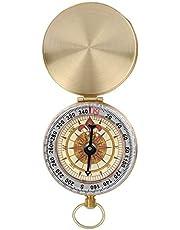 Jadeshay Camping Compass Vintage Camping Wandelrichting - Draagbare waterdichte metalen minipocket Luminous Compass