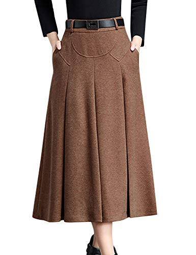Tanming Womens Winter High Waist A-Line Pleated Wool Long Skirt with Belt Loops (Camel, XX-Large)