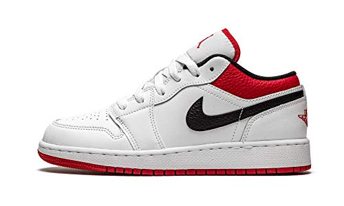 Jordan Mens Air 1 Low (GS) 553560 118 - Size 5.5Y White/Gym Red-Black