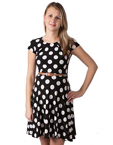 Dress Lara Kleid Etuikleid Detail Arm Damen Umstandsmode/Kleid (L (40-42), Schwarz & Punkten)