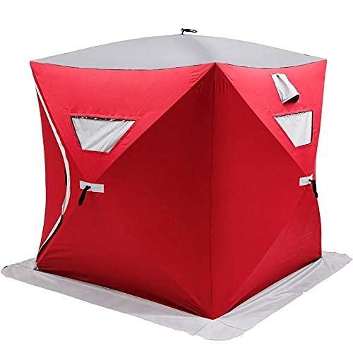 VEVOR Outdoor Camping Zelt 228 x 228 x 203 cm Ice Fish Shelter 7,5 x 7,5 x 6 Fuß, Ice Fish Shelter 300D Oxford-Gewebe, Eisfischen Zelt PVC geeignet für Nachtfischen, Winterfischen, Camping, Wandern