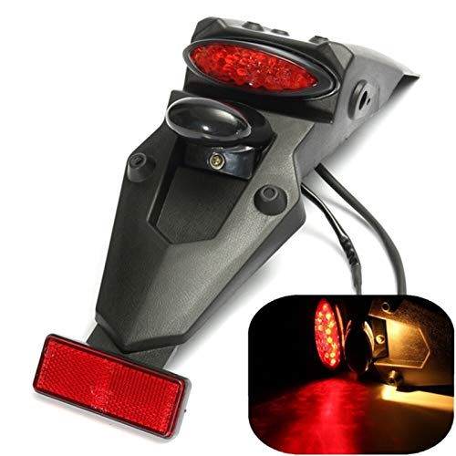 FPZHONG Motorcycle Dirt Bike Enduro Rear Fender LED Stop Brake Tail Plate Light License Plate Holder (Color : Red)