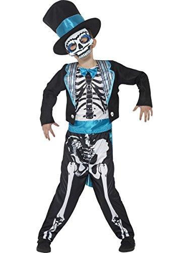 Smiffys 44929L - Kinder Jungen Tag der Toten Bräutigam Kostüm, Alter: 10-12 Jahre, Größe: L, schwarz