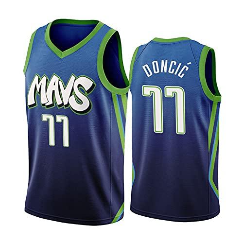 Camiseta de Baloncesto para Hombre - Camiseta de Dallas Mavericks Luka Doncic # 77, Camiseta de Uniforme de Baloncesto City Edition, Camiseta de Baloncesto de Malla Bordada Swingman,Verde,M