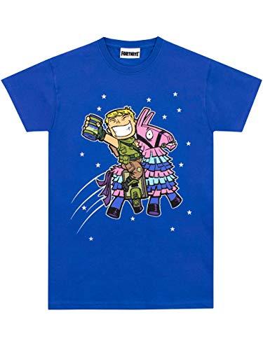 Fortnite Llama - Camiseta con una letra grande del videojuego favorito Jonesy con el Loot Llama rodeado de estrellas para niño [12-13 años] [azul]