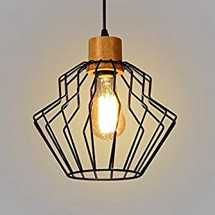 WOF Industrial Vintage Pendant Ceiling Light Shade Chandelier Metal Basket Cage Pendant Lights Retro Chandelier for Loft Bar Kitchen Coffee Hanging Pendant Light Lamp Fixtures Lighting(no Bulb) [Ener
