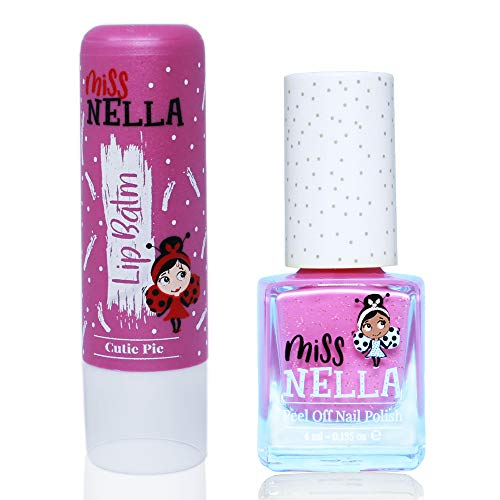 Miss Nella Nail Polish + Lip Balm set- Special Purple Glitter Nail Polish for Kids- BLUEBERRY SMOOTHIE, with Peel-off, Water Based & Odour Free Formula + CUTIE PIE purple hypoallergenic lip balm