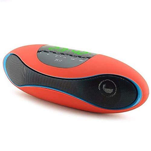 SEESEE.U Reloj de alarma de pantalla digital grande Bluetooth Altavoz Audio Tarjeta NFC FM APP Software Función de control inteligente U Disco reproducción, naranja