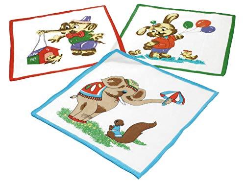 Betz Lot de 12 mouchoirs pour Enfant à Motif d'animal 26 x 26 cm en 100% Coton, Dessin 3