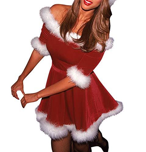 Bowanadacles Vestito Donna Ragazza Costume da Babbo Natale Abito/Pagliaccetto in Velluto con Cappuccio Mezza Manica Cintura Costume per Festa Natale Cosplay (Rosso B, M)
