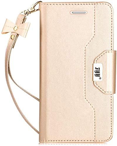 FYY Hülle für Samsung Galaxy S7 Edge Lederhülle,Galaxy S7 Edge Brieftasche Klappetui mit [Magnetverschluss][ Premium Leder ][ Standfunktion ] für Samsung Galaxy S7 Edge Hülle Handyhülle-Gold