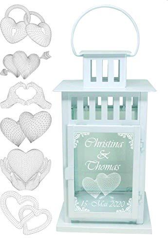 UDIG XXL Hochzeits-Laterne Metall weiß mit 3D Gravur 45x24,5x24,5 cm
