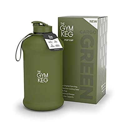 The Gym Keg Sports Water Bottle (2.2 L) Insulated | Half Gallon | Carry Handle | Big Jug Sport, 64oz Hydro Jug, Large Reusable Bottles | Ecofriendly, BPA Free Plastic, Leakproof (Cargo Green)
