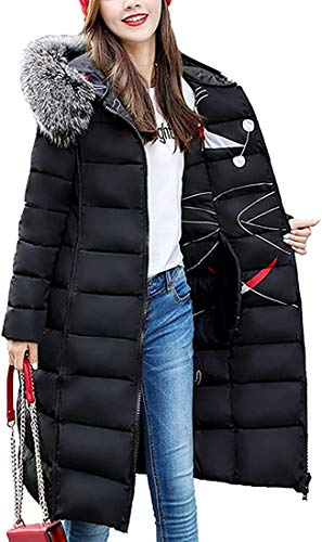 jinda Women's Coats Long Outwear Double-Sided Two-Wear Padded Jacket,Black,Large