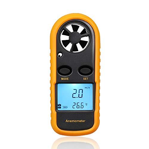 BIKEULTIMATE Anemometer Wind Meter-Messgerät Digitale Handluft-Strömungsgeschwindigkeit Geschwindigkeits-Messgerät w/MAX/MIN gefühlte Temperatur Thermometer LCD-Hintergrundbeleuchtung für Schießen