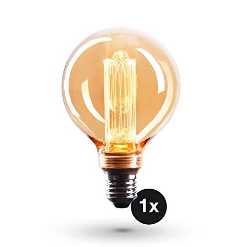 CROWN LED 1x Edison Illusion Glödlampa - E27-Sockel - Dimningsbar - 4W, Varmt Vitt Ljus, 230V, EL25 - Antik Glödlampa i Retro / Vintagelook - Energiklass A+