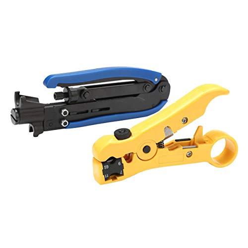 CloverGorge RG6 RG59 RG11 Cable coaxial Ajustable Pelacables Herramienta de Mano de compresión Herramienta de Pelacables de Cable coaxial