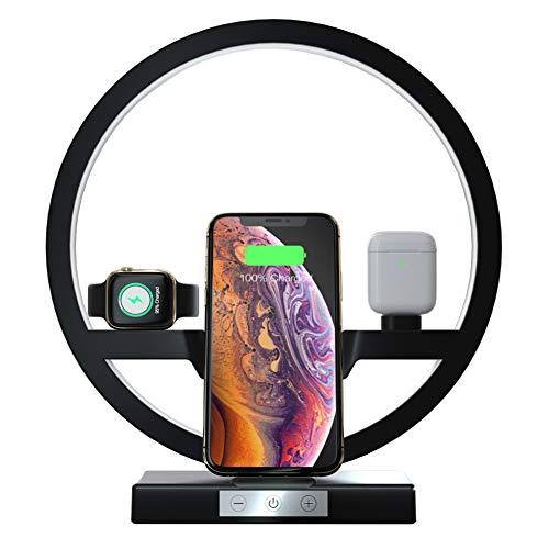 3 en 1 cargador inalámbrico, lámpara de escritorio LED con cargador de teléfono rápido para Qi dispositivo activado, lámpara de mesa con puerto de carga USB compatible con Apple y Airpods iWatch,Negro