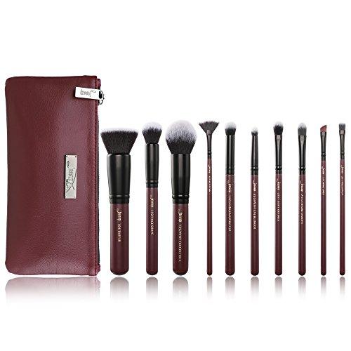 Pinceaux de maquillage Jessup, ensemble de pinceaux professionnels Pinceau à paupières Pinceau à lèvres Pinceau à lèvres Fibre synthétique de première qualité Hair Red Win T259