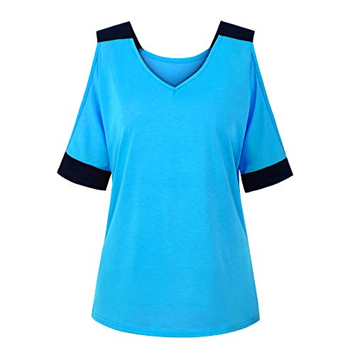Purchase Leepus Women Summer Spliced T-Shirt Off Shoulder V Neck Half Sleeve Loose Casual Plus Size ...