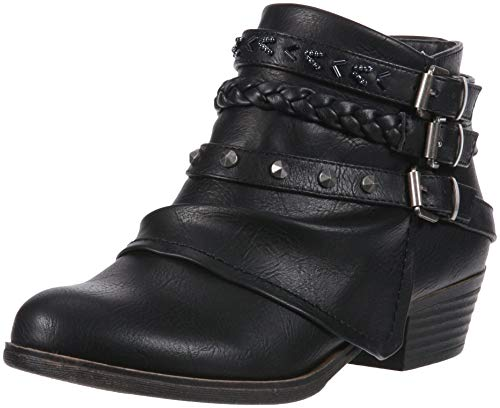 Sugar Women's Truth Triple Buckle Ankle Boot Ladies Side Zipper Bootie with Woven Wraparounds Studs and Overlay Black 9.5