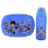 WENTS Kids Set Brotdose/Vesperdose mit Trinkflasche, Kunststoff (BPA-frei), Blau mit Motiv Paw Patrol, 2er Set