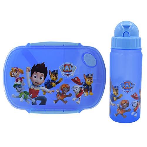 WENTS - Fiambrera para niños, diseño de patrulla canina, con botella, varios compartimentos para niños, ideal para guardería o ocio, 2 unidades