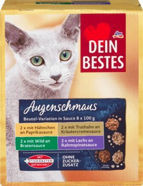 Dein Bestes Augenschmaus Nassfutter für Katzen, Vorteilspack Beutel in Sauce, 8 x 100 g, 800 g Alleinfuttermittel