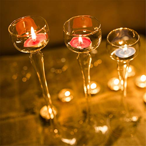 Candlestick Holder Set of 3 Clear Glass Tall Tea Light Holder Candle Votive Wedding Table Decoration for Home for Dining Room Living Room Best Wedding Gift (Color : Transparent, Size : One Size)