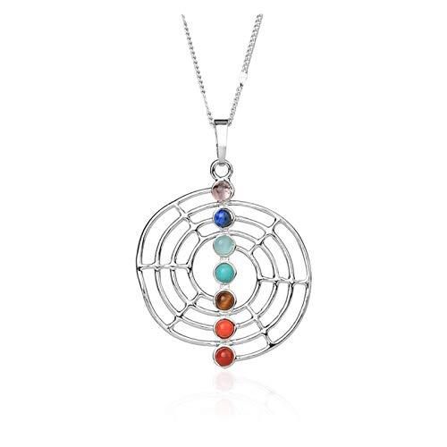 HLMJ Reiki Symbols Spiral Colgantes Yoga 7 Chakra Piedra Ocho trigramas En Forma de Amuleto simbólico Mujeres Colgante Collar