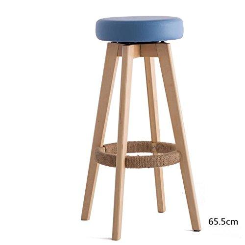 Rollsnownow Coussin bleu en bois en bois haute chaise de bar 65cm Tabouret haut chaise pivotante moderne simplicité