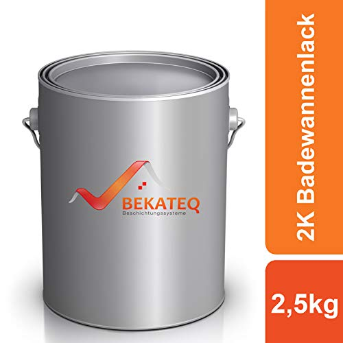 BEKATEQ 2K Badewannenlack LS-410 Grundierung und Decklack - RAL9010 Weiss - 2,5KG