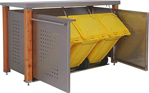 Reinkedesign Mülltonnenbox Boxxi aus Aluminium in Anthrazit RAL 7016 als Bausatz (3 x 120l, Pflanzwanne)