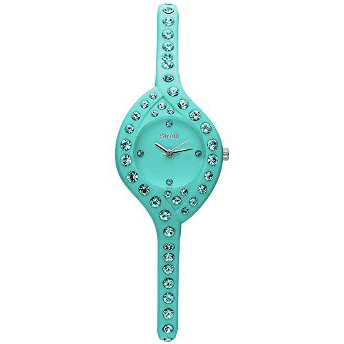 Stroili - So Girly orologio solo tempo in silicone azzurro e cristalli con quadrante azzurro per Donna