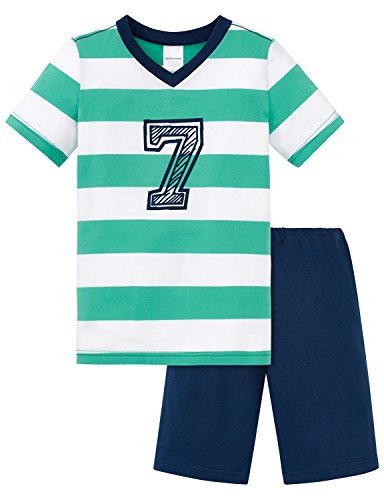 Schiesser Jungen Zweiteiliger Schlafanzug Kn Anzug Kurz, Grün (Grün 700), 104