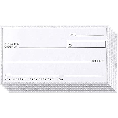 Blue Panda Giant Checks (5-Count) - Cheques falsos gigantes de novedad para premios de donaciones, donaciones y recaudaciones de fondos, 30 x 16 pulgadas